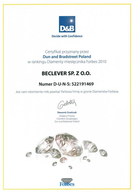 Certyfikat Diamenty Forbes dla firmy BeClever