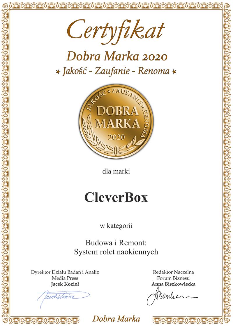 Certyfikat Dobra Marka 2020 dla produktu CleverBox i firmy BeClever