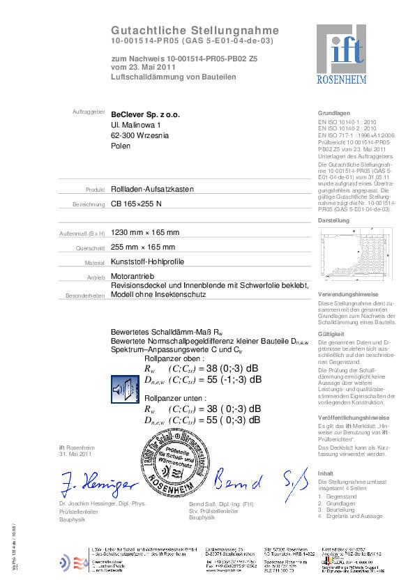 Certyfikat izolacji akustycznej rolet nadstawnych CleverBox