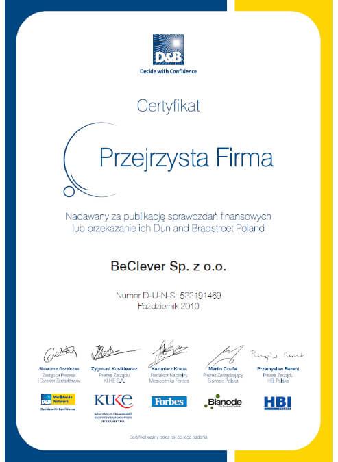Certyfikat Przejrzysta Firma dla BeClever za publikację sprawozdań finansowych