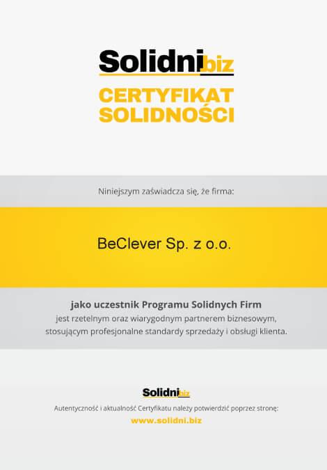 Certyfikat Solidni.biz dla firmy BeClever za profesjonalne standardy sprzedaży i obsługi klienta