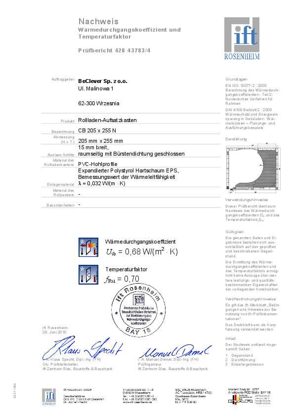 Certyfikat termoizolacyjności rolet nadstawnych CleverBox