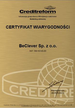 Certyfikat wiarygodności dla BeClever za Creditreform