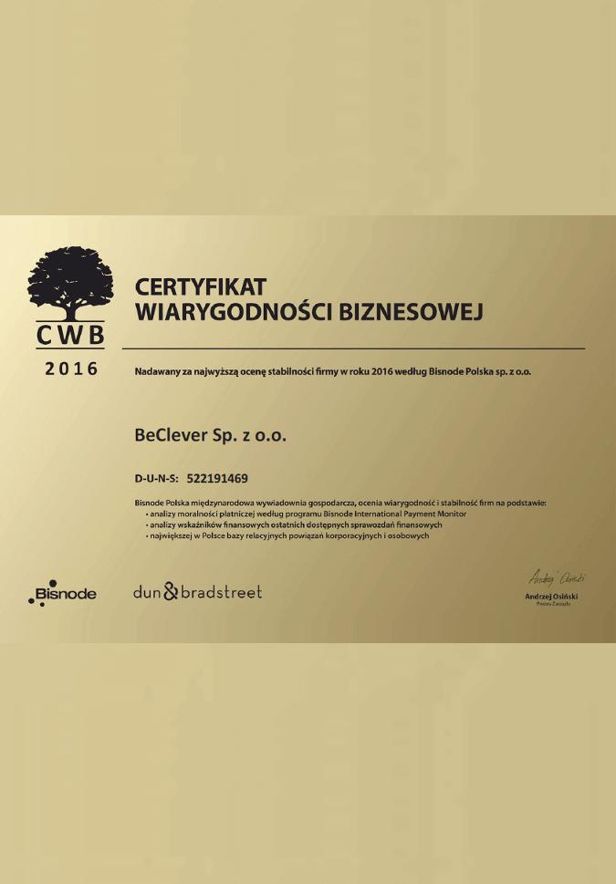 Certyfikat Wiarygodności Biznesowej 2016 dla BeClever za najwyższą stabilność firmy