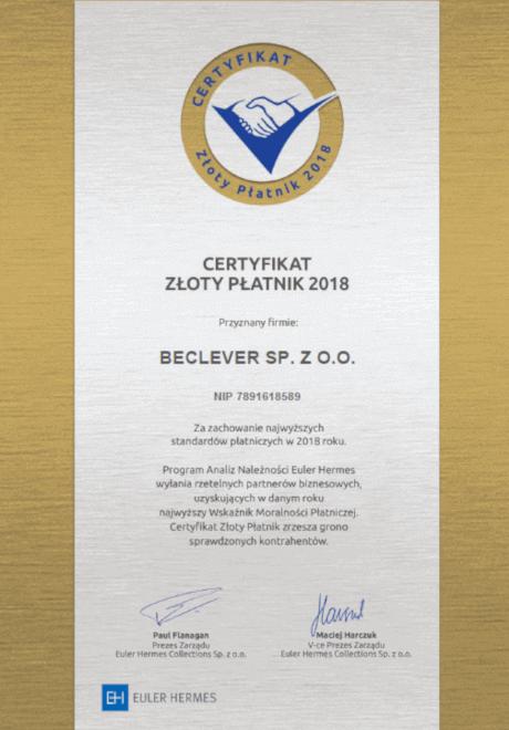 Certyfikat Złoty Płatnik 2018 dla BeClever za zachowanie najwyższych standardów płatniczych