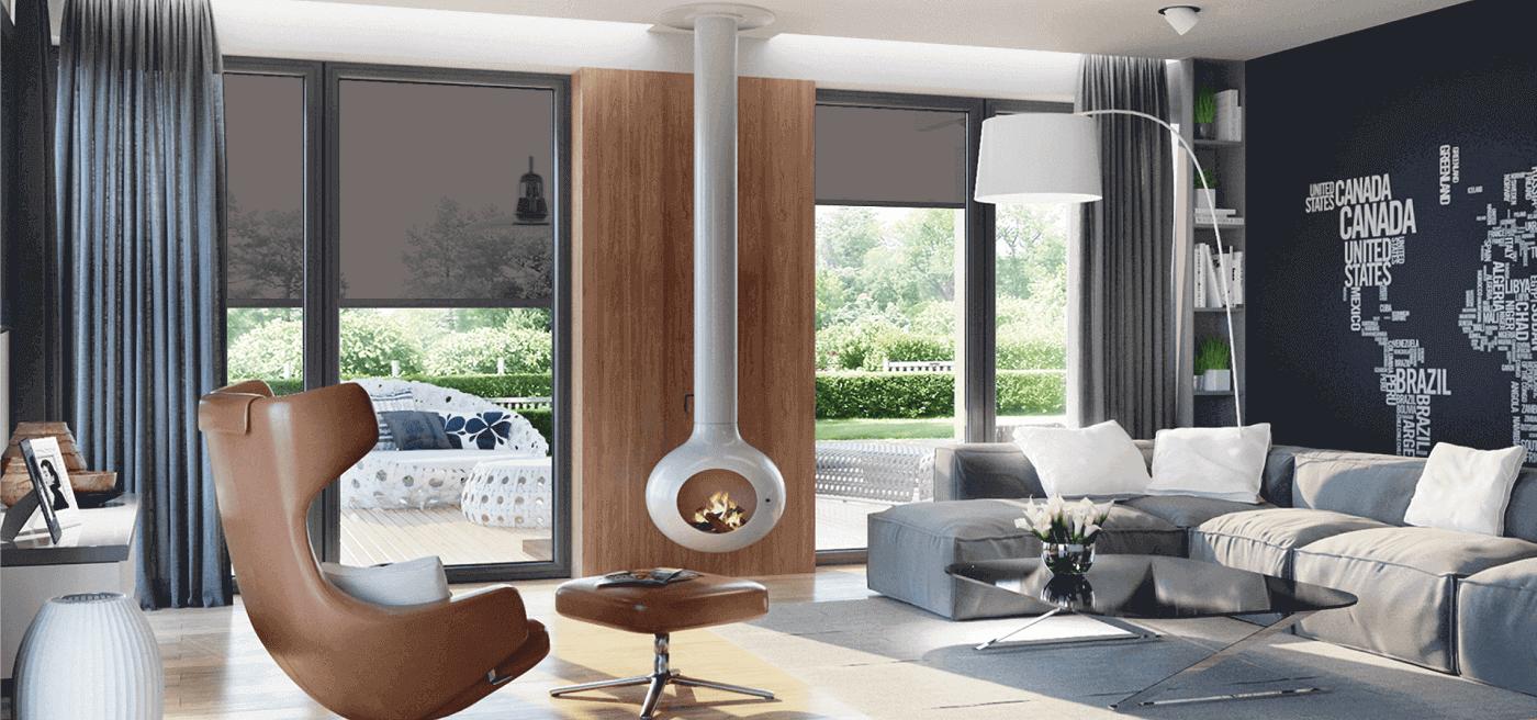 Pomieszczenie z zasłoniętymi oknami roletami przeciwsłonecznymi zewnętrznymi