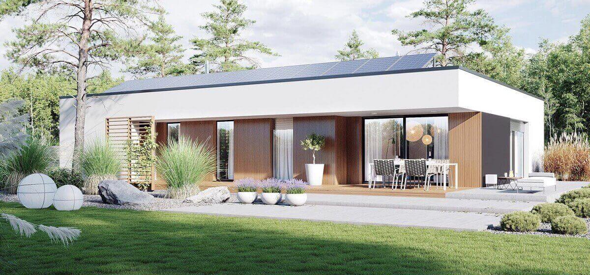 Wizualizacja domu z żaluzjami fasadowymi