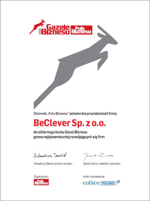 Potwierdzenie przynależności firmy BeClever do elitarnego klubu Gazel Biznesu