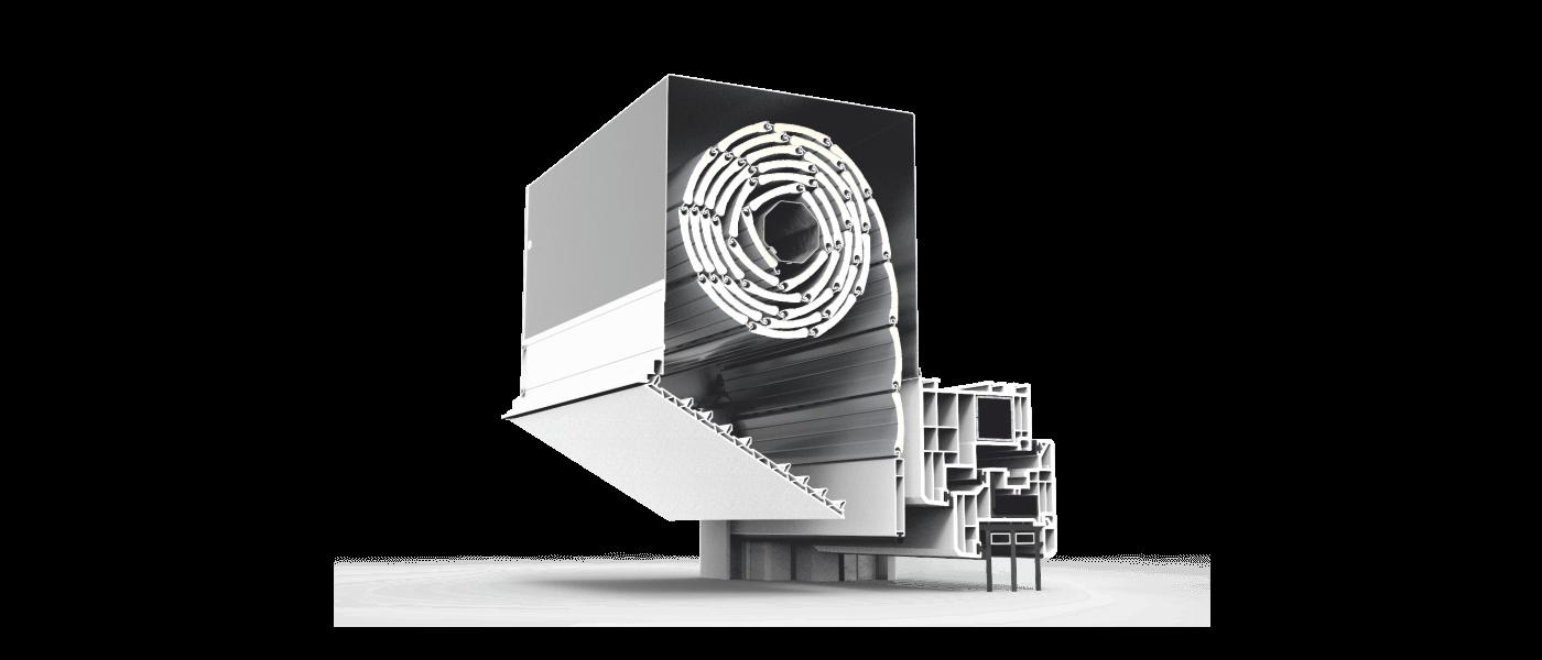 Skrzynka rolety podtynkowej QuadBox hybrid z otwartą pokrywą rewizyjną. Innowacyjny system rolet QuadBox hybrid charakteryzuje się obudową wykonaną z aluminium, natomiast pokrywa rewizyjna wykonana została z wysokiej jakości tworzywa PVC. Skrzynka rolety zewnętrznej podtynkowej montowana jest przed oknem, na elementach konstrukcyjnych ściany, dlatego po montażu jest praktycznie niewidoczna. Zapewnia to doskonałe wkomponowanie się do elewacji budynku oraz zachowanie czystości i estetyki na najwyższym poziomie. Skrzynka rolety podtynkowej QuadBox hybrid cechuje się doskonałą sztywnością oraz wykończeniem bez widocznych nitów czy wkrętów. Wewnątrz skrzynki znajduje się rura nawojowa ze zwiniętym pancerzem rolety. Pancerz wykonany z aluminium i lakierowany proszkowo w kolorze srebrnym. Widoczne elementy mogą być dostosowane kolorystycznie do indywidualnych potrzeb.