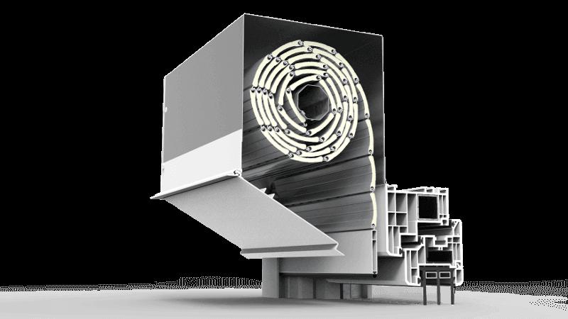 Skrzynka rolety podtynkowej QuadBox z pokrywą rewizyjną z aluminium otwieraną od dołu