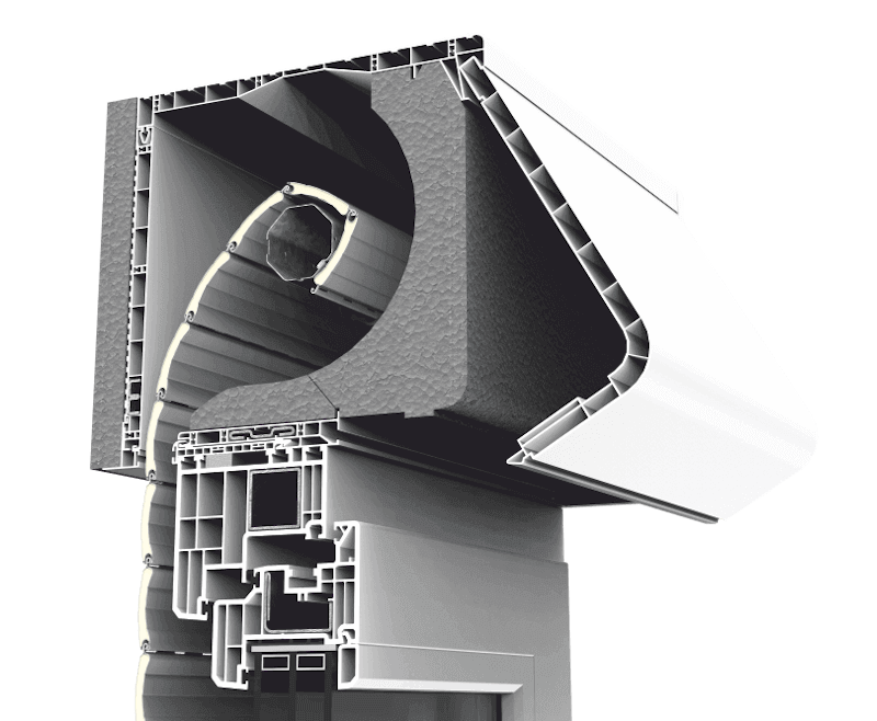 Skrzynka rolety zewnętrznej CleverBox z zaokrągloną pokrywą rewizyjną otwieraną od tyłu