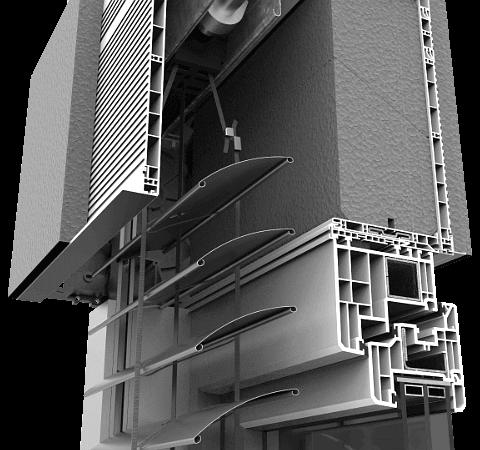 """Skrzynka żaluzji fasadowych w nadstawnym systemie CleverBox montowana na górnej ramie okna. Posiada ocieplenie przed profilem czołowym, wewnątrz oraz na tylnej ściance, które znacząco zwiększają parametry izolacyjności. Skrzynka żaluzji fasadowych o wymiarach 205 x 255 mm. Nie ma ograniczenia względem szerokości profilu okiennego. Skrzynka fasadowej żaluzji może być montowana na oknach PVC, drewnianych oraz aluminiowych. Głęboka skrzynka zapewnia łatwy dostęp serwisowy z zewnątrz budynku. Prowadnice kurtyny żaluzji wykonana z aluminium jest odporna na silne uderzenia wiatru oraz wysoką temperaturę. Taśma sterująca oraz lamele wykonane są ze specjalnych syntetycznych włókien z domieszką Kevlaru®. Lamele żaluzji wykonane są z aluminium i oferowane są w dwóch kształtach: litery """"C"""" oraz litery """"Z"""". Poszczególne elementy konstrukcji żaluzji fasadowych dostępne są w bogatej gamie kolorystycznej."""