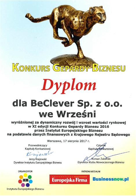 Dyplom w konkursie Gepardy Biznesu dla BeClever za dynamiczny rozwój i wzrost wartości rynkowej