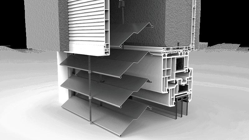 Skrzynka żaluzji fasadowych z lamelami w kształcie litery Z lub C
