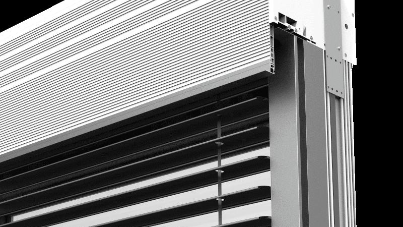 Profil czołowy skrzynki żaluzji zewnętrznej CleverBox. Dwustronny profil czołowy skrzynki umożliwia zastosowanie żaluzji fasadowych w wariancie bez zabudowy lub pod zabudowę. W ten sposób skrzynka żaluzji zewnętrznych może być całkowicie ukryta pod elewacją budynku. Umożliwia to dopasowanie osłony do praktycznie każdego stylu architektonicznego inwestycji.