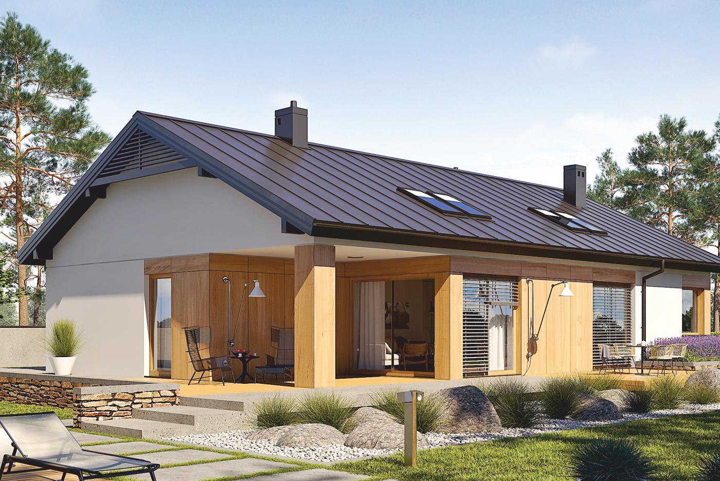 Wizualizacja domu z poddaszem użytkowym z zastosowaniem żaluzji fasadowych od BeClever