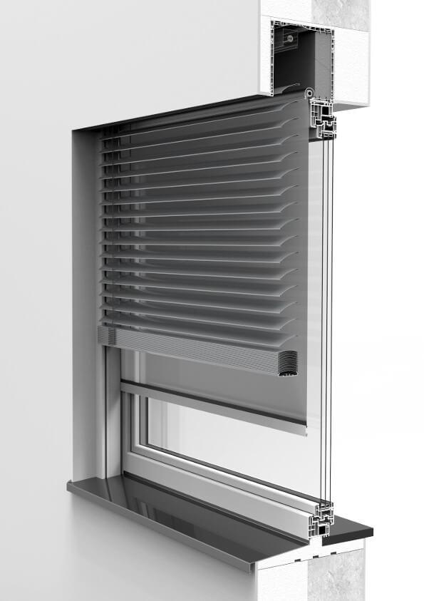 Zamontowana żaluzja fasadowa z moskitierą CleverBox