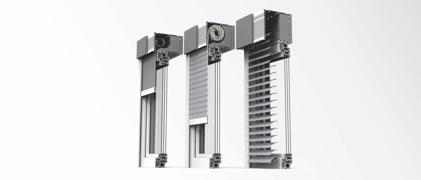Trzy rodzaje rolet zewnętrznych nadstawnych CleverBox: rolety, żaluzje fasadowe, rolety screen