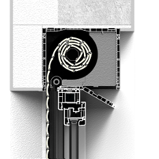 Zabudowa z zewnątrz rolety nadstawnej CleverBox z pokrywą rewizyjną od dołu