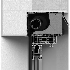 Zabudowa od zewnątrz skrzynki screena CleverBox z pokrywą rewizyjną od tyłu