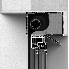 Zabudowa skrzynki rolety screen CleverBox od wewnątrz z pokrywą rewizyjną od dołu