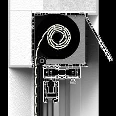 Zabudowa z zewnątrz rolety nadstawnej CleverBox z pokrywą rewizyjną od tyłu