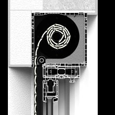 Zabudowa z zewnątrz rolety naokiennej CleverBox z pokrywą rewizyjną od tyłu