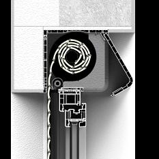 Zabudoa z zewnątrz rolety nadstawnej CleverBox z zaokrągloną pokrywą rewizyjną od tyłu