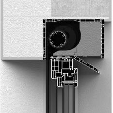 Zabudowa skrzynki rolety typu screen CleverBox z zewnątrz z pokrywą rewizyjną od dołu