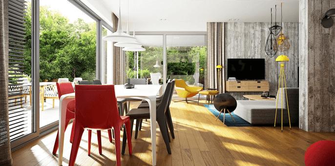 Wnętrze domu z odsłoniętymi żaluzjami i roletami fasadowymi