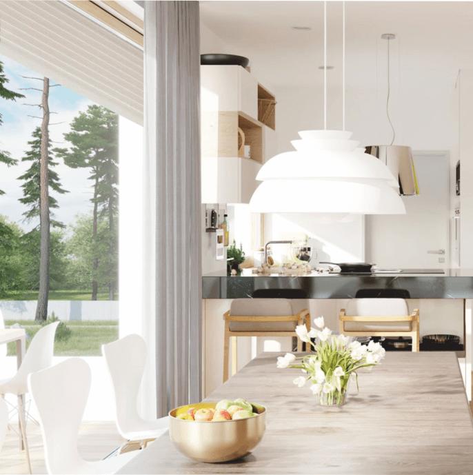 Jadalnia z aneksem kuchennym z podniesioną roletą fasadową QuadBox