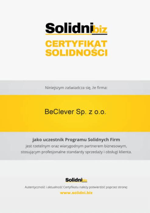 """Certyfikat uczestnictwa """"Programu Solidnych Firm"""""""