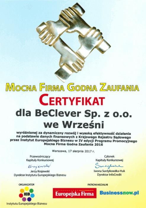 """Certyfikat """"Mocna Firma Godna Zaufania"""""""