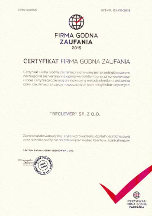 """Certyfikat """"Firma Godna Zaufania 2015"""""""
