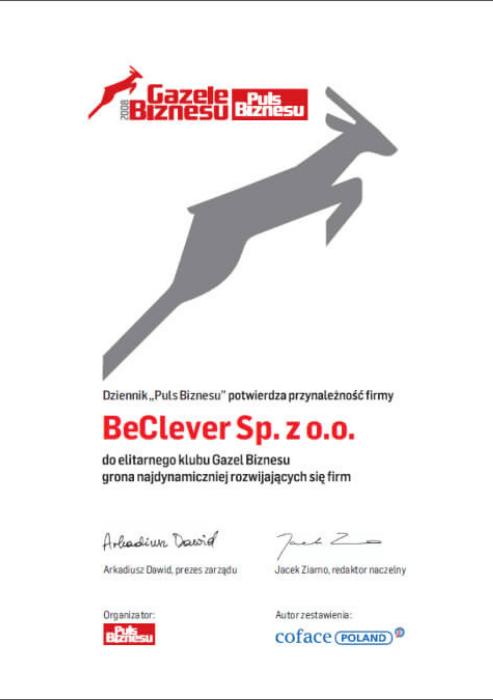 """Certyfikat """"Gazele Biznesu 2008"""""""