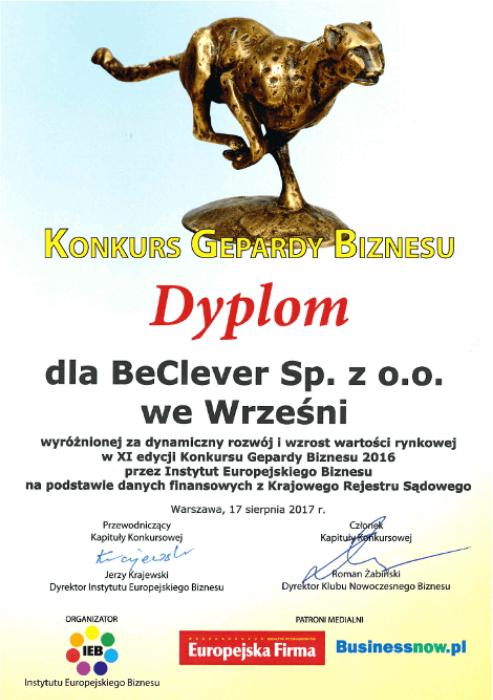 """Dyplom """"Gepardy Biznesu 2017"""""""