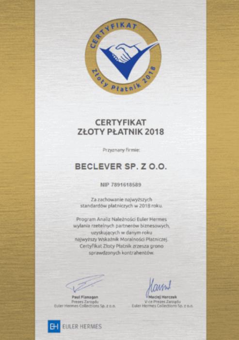"""Certyfikat """"Złoty Płatnik 2018"""""""