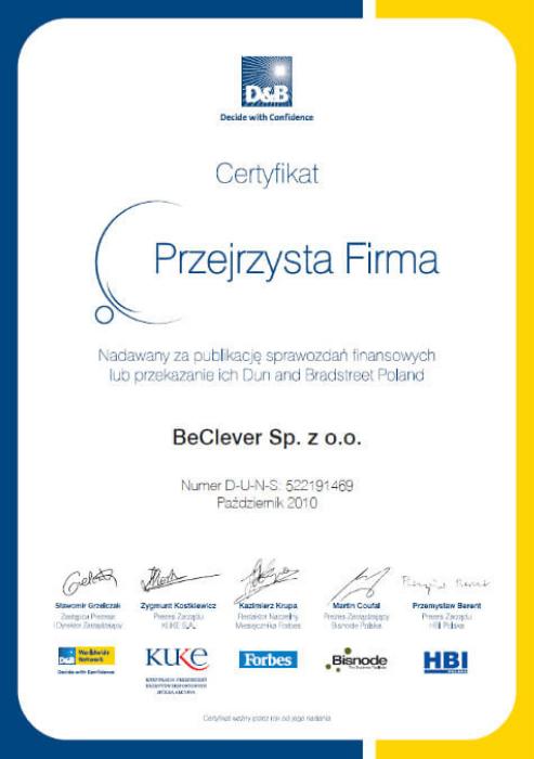 """Certyfikat """"Przejrzysta Firma 2010"""""""