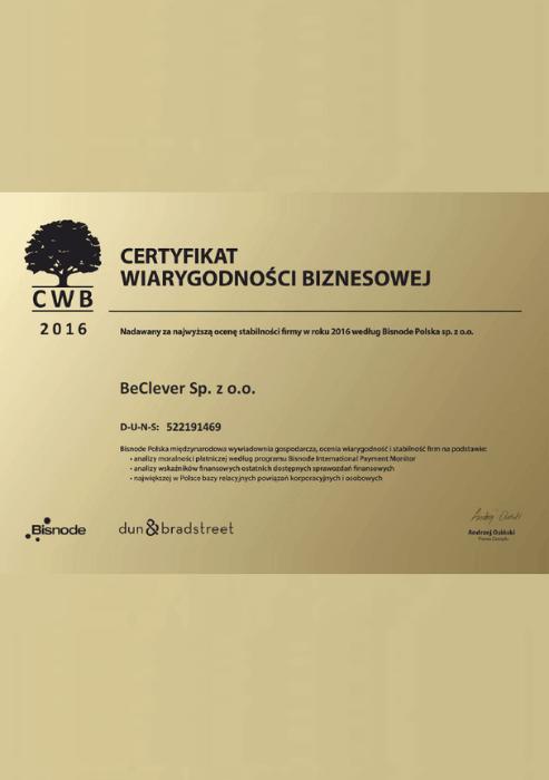 """Certyfikat """"Wiarygodności biznesowej 2016"""""""